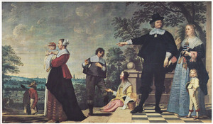 Groepsportret van een onbekende Brugse familie met bedienden