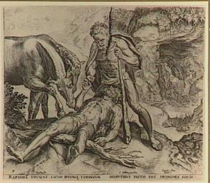 Koning Diomedes gevoerd aan zijn eigen merries; op de achtergrond de roof van de kudde van Geryon