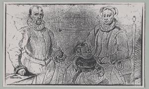 Portret van een man, een vrouw en een kind