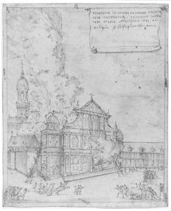 De kerk van de Jezuïeten in Antwerpen tijdens de brand op 18 juli 1718
