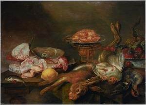 Stilleven met vis en jachtbuit en andere etenswaren