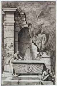 Tempelruïne met  fontein en beeld van Hercules Farnese