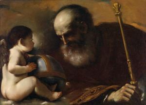 God de Vader met een gevleugelde engel die de aarde vasthoudt