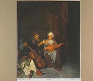Interieur met citer spelende vrouw en zingende man