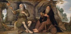 De HH. Antonius Abt en Paulus de Heremiet door een raaf gevoed