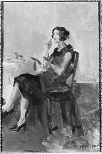 Zittende vrouw aan een tafel