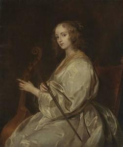 Portret van een gamba-spelende vrouw