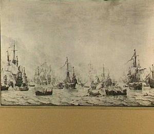 Zeeslag tegen de Spaanse Armada bij Duins, 21 oct 1639; een algemeen overzicht van het laatste deel van de zeeslag met de 'Aemilia', de 'Santiago' en andere vaartuigen