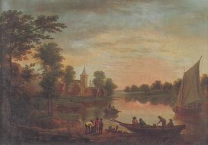 Een landschap met een groot meer, gebouwen en figuren