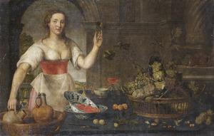 Keukenstilleven met een dienstmaagd die een glas wijn toont