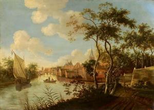 Rivierlandschap met schepen, een stad op de achtergrond