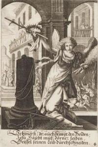 Engel de doornenkroon en andere werktuigen van de geseling vasthoudend