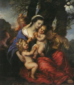 Portrait hisrorié van een vrouw met vijf kinderen, mogelijkerwijs vorstin Sofie Auguste von Anhalt Zerbst, geboren prinses von Schleswig-Holstein-Gottorf met vijf van haar kinderen