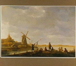 Landschap met gezicht op de Rietdijkse poort in Dordrecht