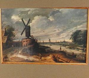 Rivierlandschap met molens