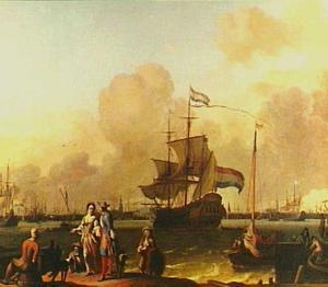 Het fregat 'De Ploeg' en andere scheepvaart op het IJ voor Amsterdam