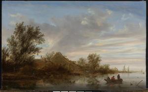 Rivierlandschap met een roeiboot met vissers