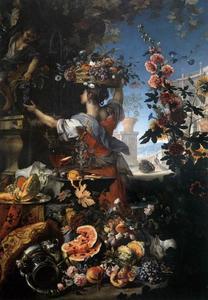 Stilleven van bloemen en fruit met een vrouw die druiven plukt