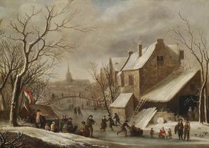 Winterlandschap met schaatsers op het ijs in een stad