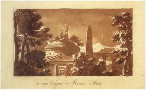 Italianiserend fantasiegezicht met tempel, obelisk en brug