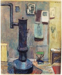 Interieur atelier Overveen met kachel