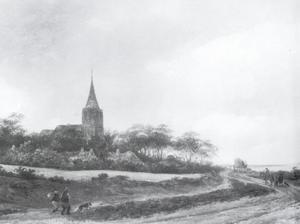 Landschap met een kerk