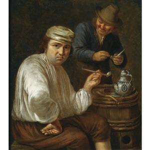 Twee pijprokende mannen