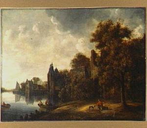 Gefantaseerd rivierlandschap met rechts de ruïne van de voorpoort van kasteel Brederode vanuit het zuidwesten, links de Delftse Oostpoort