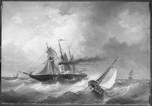 """Het raderstoomschip """"Arti et Amicitiae"""" in de wending"""