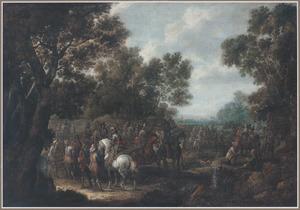 Halthoudendesoldaten bij een bosrand
