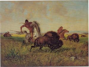 Jacht op buffels op de vlaktes