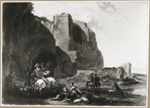 Zuidelijk landschap met valkenjagers bij een Romeinse ruïne
