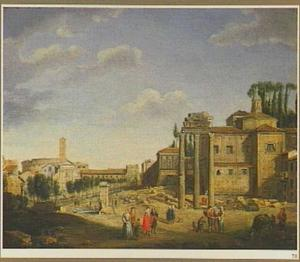 Gezicht op het Forum Romanum richting het Colosseum te Rome