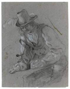 Studie van een op een tafel leunenende man met hoed