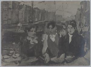 Drie meisjes op een Amsterdamse gracht