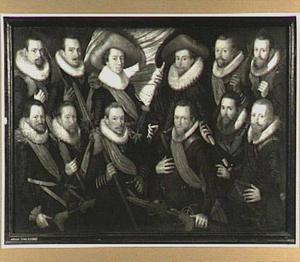 Schutterstuk van de officieren en vaandeldragers van de Jonge Schutterij
