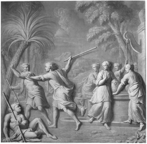 Mozes die de dochters van de priester Jetro te Midjan helpt de herders te verdrijven  (Exodus 2:16-22)