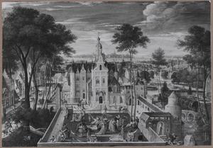 Kasteel met elegante figuren in voorhof, op de achtergrond een stad
