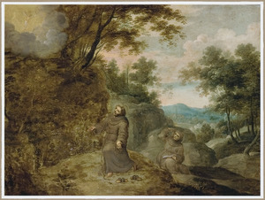 Bebost heuvellandschap met de stigmatisering van de H. Franciscus van Assisi