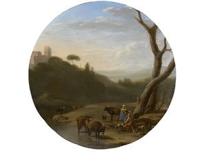 Zuidelijk landschap met herders en hun vee bij een kale boom
