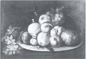 Stilleven van vruchten op een tinnen bord