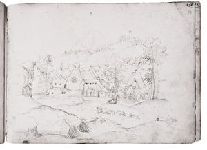 Klooster in een heuvellandschap met exotische dieren