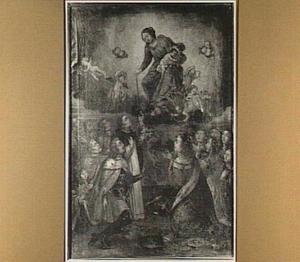 De H. Dominicus ontvangt de rozenkrans van Maria in het bijzijn van een koningspaar