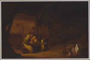 Herberginterieur met zingende boeren aan een tafel