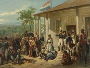 De onderwerping van Diepo Negoro aan luitenant-generaal Hendrik Merkus Baron de Kock op 28 maart 1830 waarmee de Java-oorlog werd beëindigd