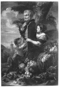 Een herme en een putto decoreren een borstbeeld van een sater met klimop