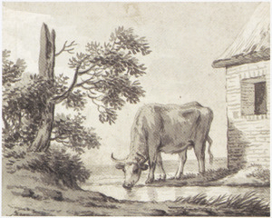 Landschap met drinkende koe bij een boerderij