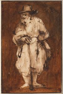 Oud man leunend op een stok