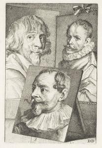 Portretten van Hendrik van Steenwijck II (1580- voor 1640), Jacques de Gheyn II (....-1629) en Sebastiaan Vrancx (1573-1647)