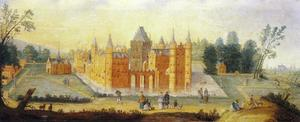 Gezicht op het kasteel in Egmond aan den Hoef